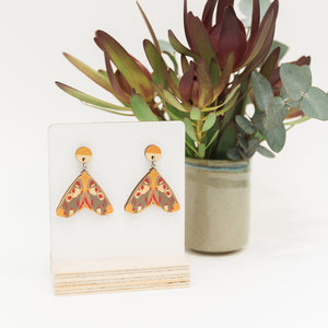 Hypsidia erythropsalis orange Australian made moth earrings wooden jewellery