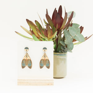 Amerila nigropunctata blue Australian made moth earrings wooden jewellery