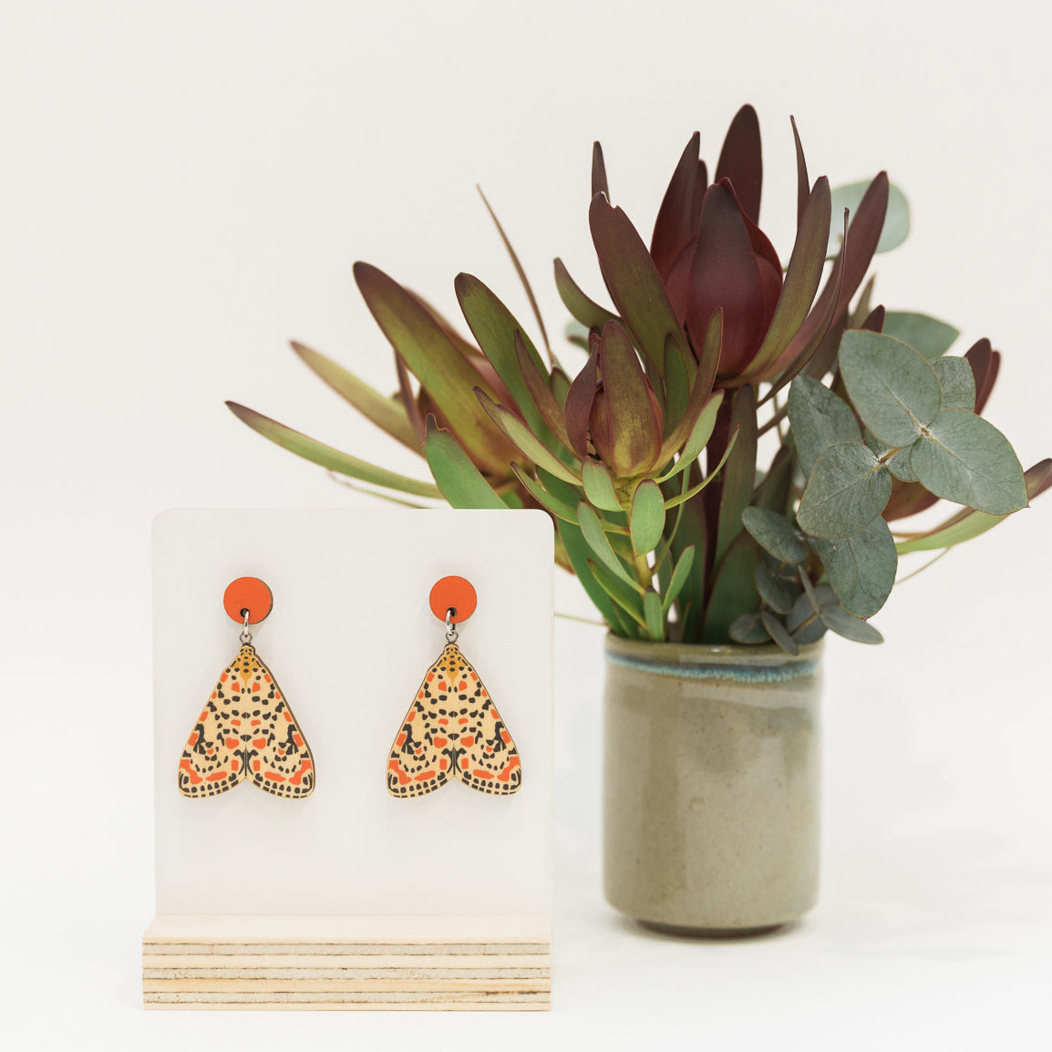 Utetheisa pulchelloides red spotted Australian made moth earrings wooden jewellery