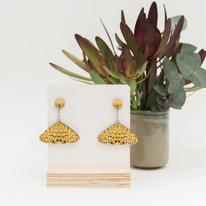 Argina astraea yellow Australian made moth earrings wooden jewellery