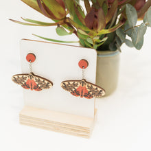 Spilosoma erythrastis red Australian moth earrings wooden jewellery