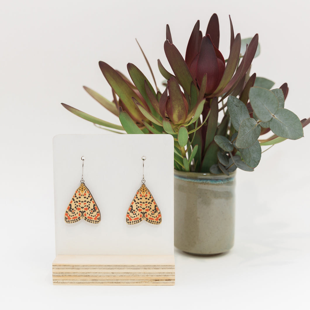 Utetheisa pulchelloides red Australian moth earrings wooden jewellery
