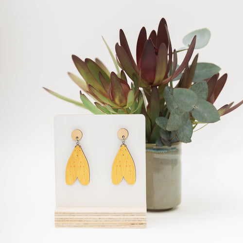 Agape chloropyga yellow tigermoth Australian made moth earrings jewellery