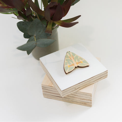 Chlorodes boisduvalaria green Australian made moth brooch wooden jewellery