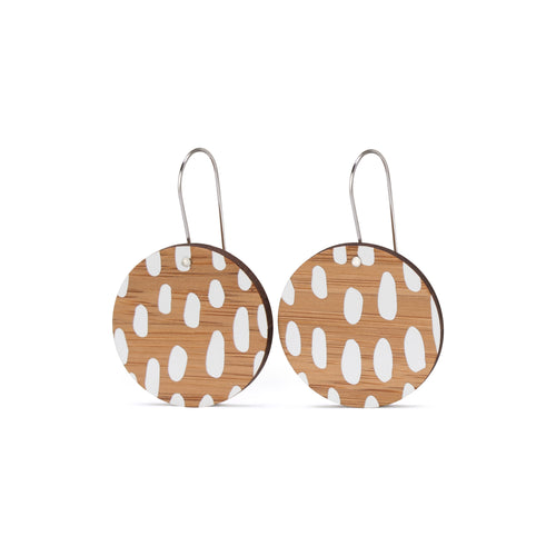 sustainable bamboo earrings white