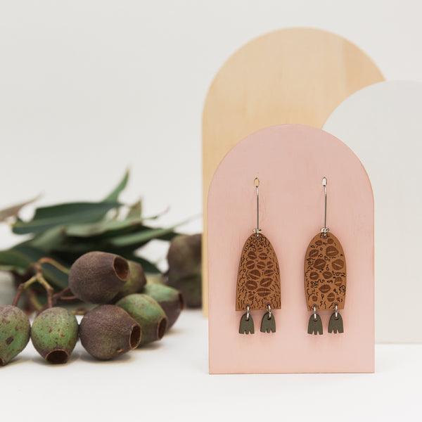Australian made banksia men earrings wooden jewellery