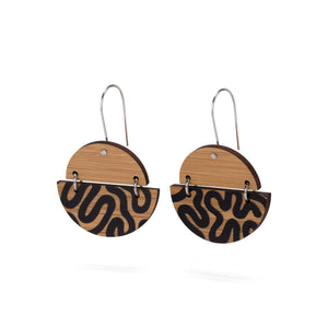 sustainable bamboo earrings black