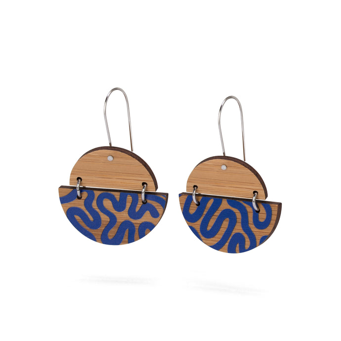 sustainable bamboo earrings blue