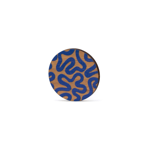 sustainable bamboo brooch blue