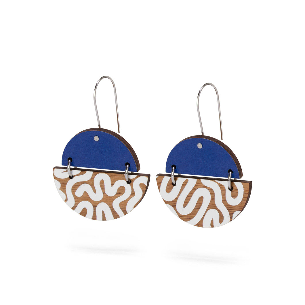sustainable bamboo earrings blue white