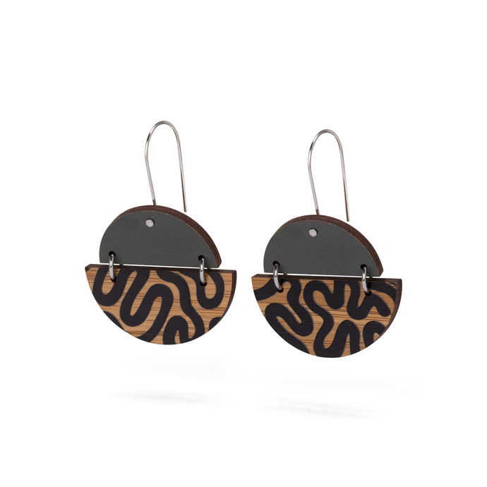 sustainable bamboo earrings khaki black