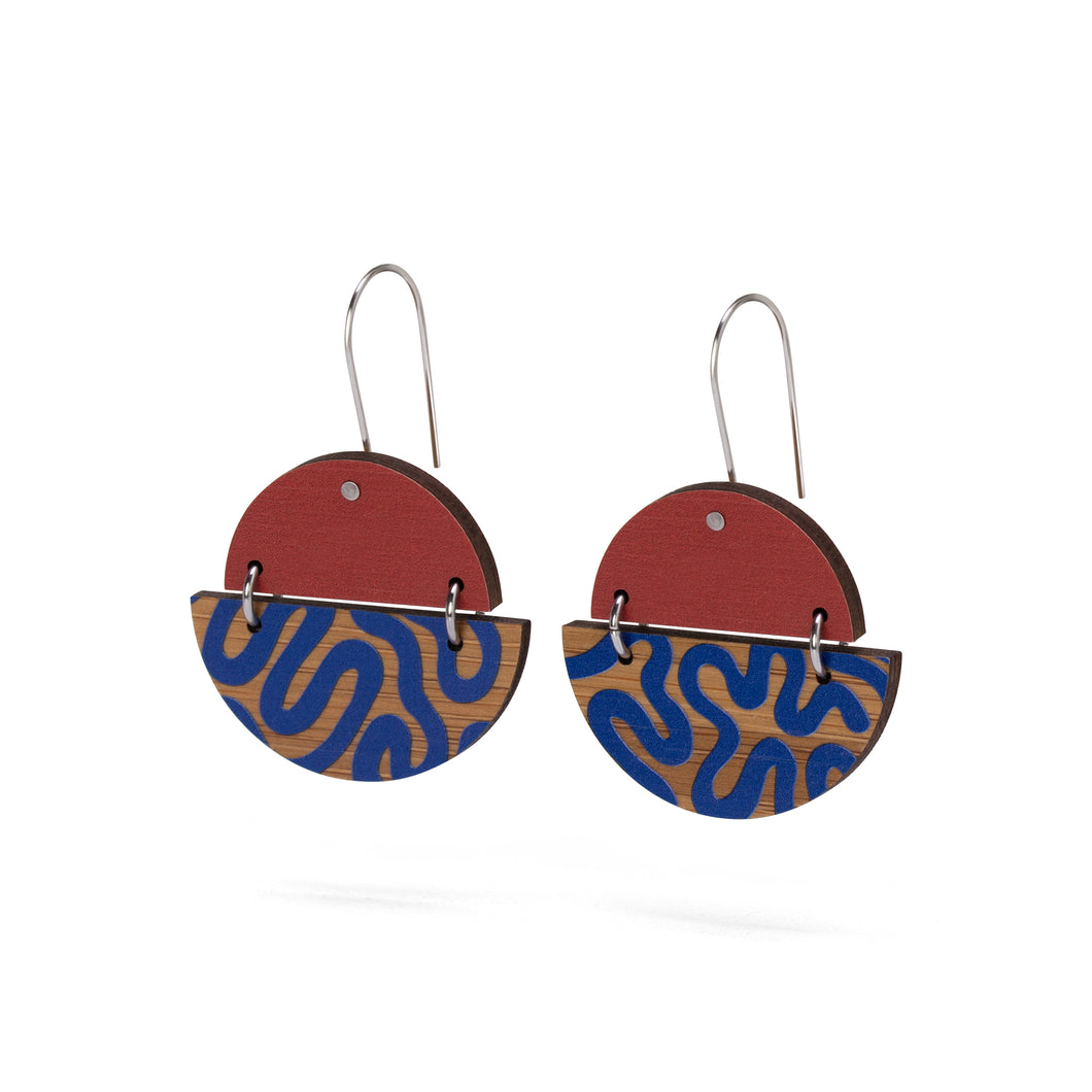 sustainable bamboo earrings red blue