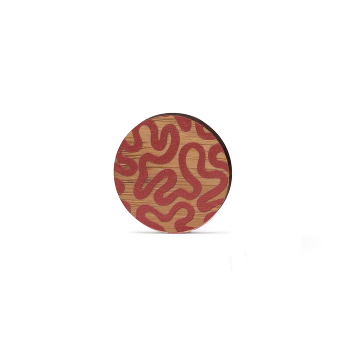 sustainable bamboo brooch red