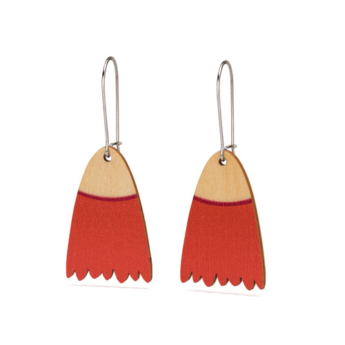 flowering gum blossom timber wooden earrings  orange