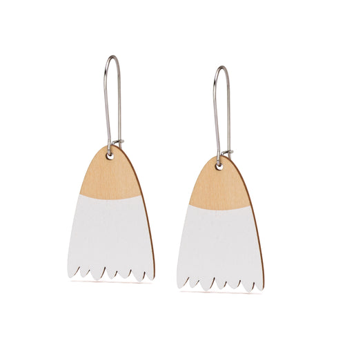 flowering gum blossom timber wooden earrings  white