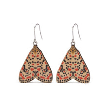 Load image into Gallery viewer, Utetheisa pulchelloides red Australian moth earrings wooden jewellery