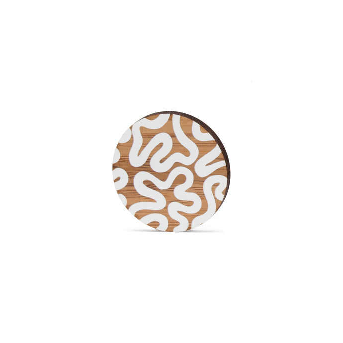 sustainable bamboo brooch white