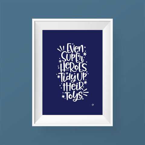 Sweet Petite | Tidy Superheroes print Even Superheroes Tidy Up Their Toys in Navy