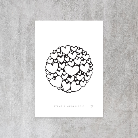 Custom Personalised Heart and Your Special Date Anniversary Print | Sweet Petite