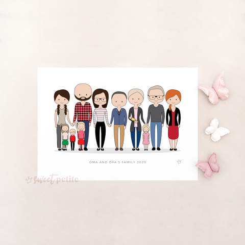 Sweet Petite | Bespoke Portrait Print | Personalised Family Art, Personalised Portrait, Personalised Print, Custom Family Artwork