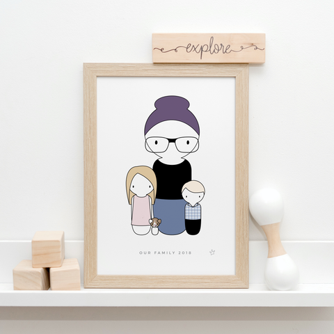 Sweet Petite | Custom Personalised Peg Doll Family Portrait, family print, custom family artwork, peg family print, peg doll art, The Original Peg Prints, Peg Family, Bespoke Minimalist Portrait Print