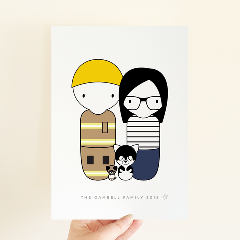 Sweet Petite | Custom Personalised Peg Doll Family Portrait, family print, custom family artwork