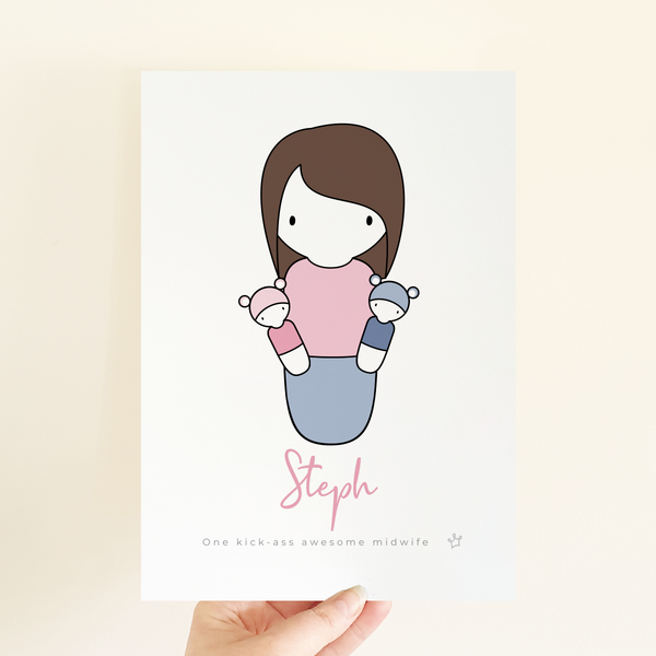 Peg Hero Print | Sweet Petite - Midwife gift, personalised birthday present