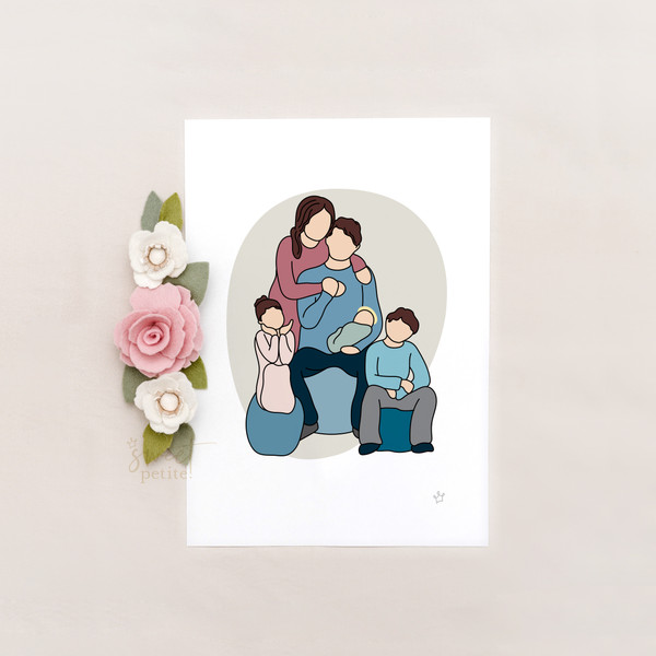 Family of Five with an Angel - Colour