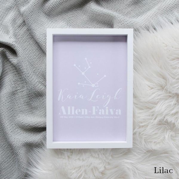 Sweet Petite | Baby birth announcement poster in The Astronomer style and lilac colour