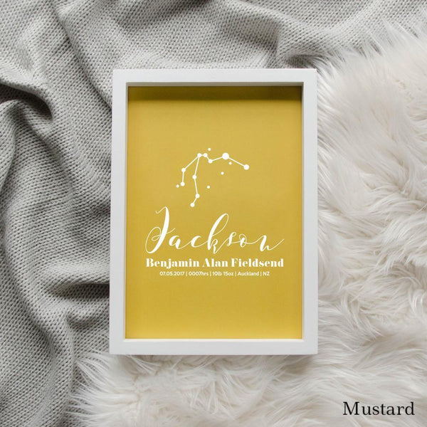 Sweet Petite | Baby birth announcement poster in The Astronomer style and mustard colour