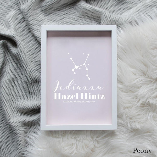 Sweet Petite | Baby birth announcement poster in The Astronomer style and peony pink colour