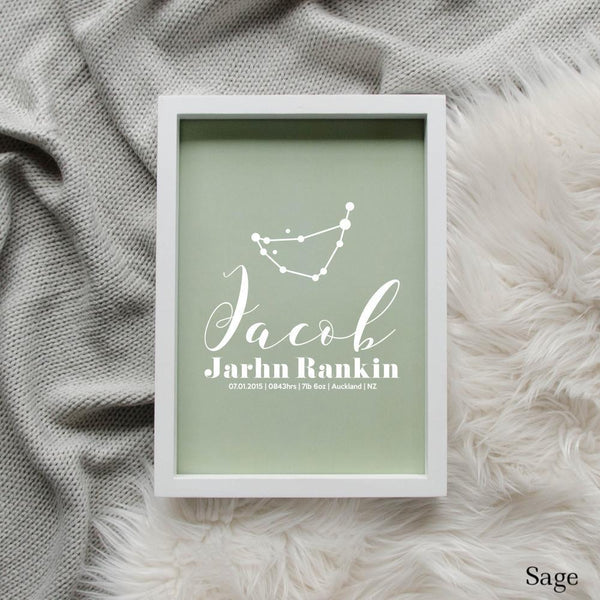 Sweet Petite | Baby birth announcement poster in The Astronomer style and sage green colour