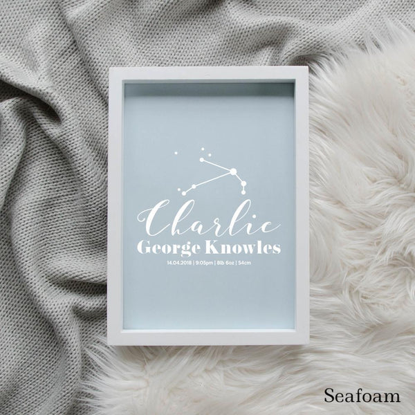 Sweet Petite | Baby birth announcement poster in The Astronomer style and seafoam colour