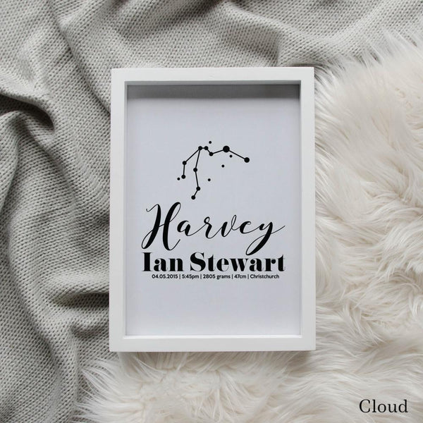 Sweet Petite | Baby birth announcement poster in The Astronomer style and cloud grey colour