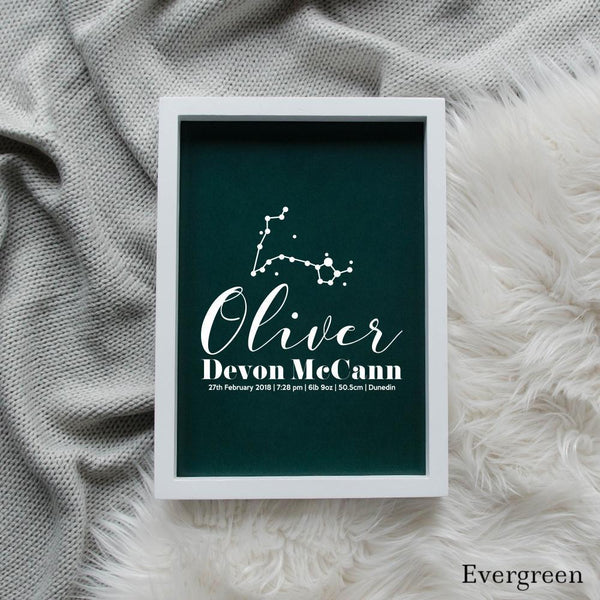 Sweet Petite | Baby birth announcement poster in The Astronomer style and evergreen colour