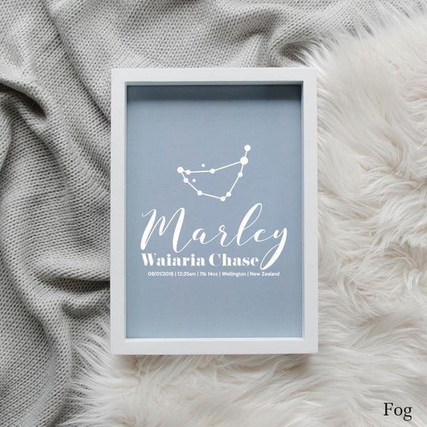 Sweet Petite | Baby birth announcement poster in The Astronomer style and fog blue colour