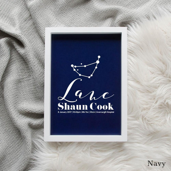 Sweet Petite | Baby birth announcement poster in The Astronomer style and navy blue colour