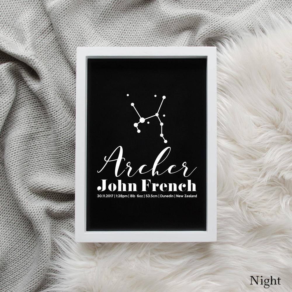 Sweet Petite | Baby birth announcement poster in The Astronomer style and night black colour