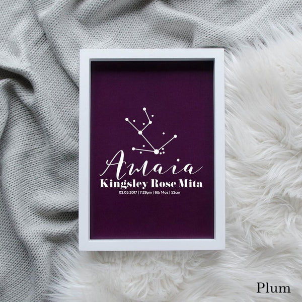 Sweet Petite | Baby birth announcement poster in The Astronomer style and plum colour