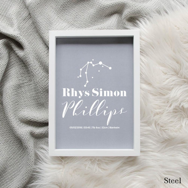 Sweet Petite | Baby birth announcement poster in The Astronomer style and steel grey colour