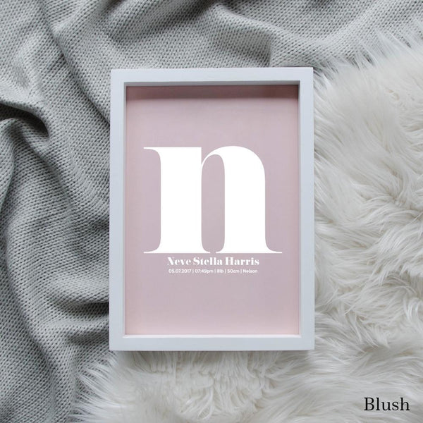 Sweet Petite | The Beginning monogram baby birth announcement poster in blush pink