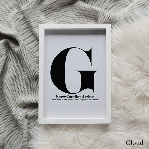 Sweet Petite | The Beginning monogram baby birth announcement poster in cloud grey