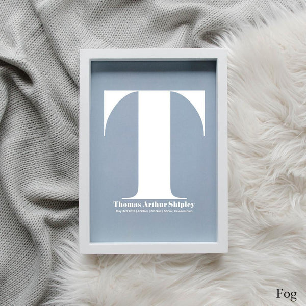 Sweet Petite | The Beginning monogram baby birth announcement poster in fog blue