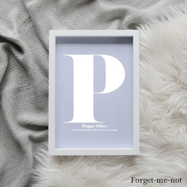 Sweet Petite | The Beginning monogram baby birth announcement poster in forget-me-not blue