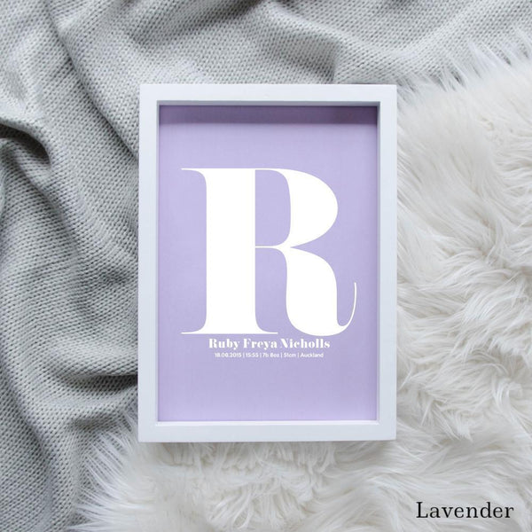 Sweet Petite | The Beginning monogram baby birth announcement poster in lavender purple