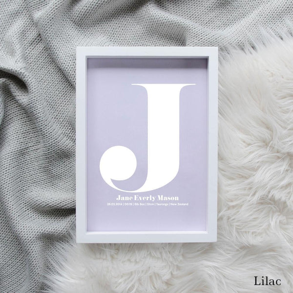 Sweet Petite | The Beginning monogram baby birth announcement poster in lilac purple