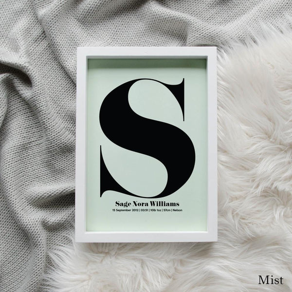 Sweet Petite | The Beginning monogram baby birth announcement poster in mist green