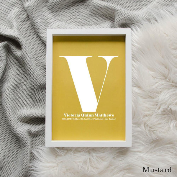 Sweet Petite | The Beginning monogram baby birth announcement poster in mustard