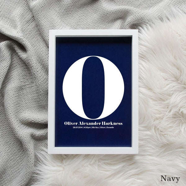 Sweet Petite | The Beginning monogram baby birth announcement poster in navy blue