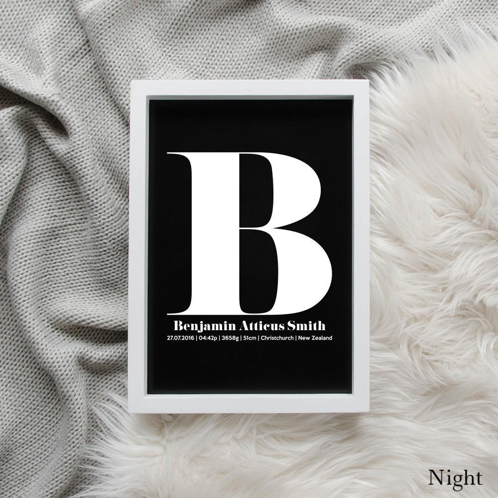 Sweet Petite | The Beginning monogram baby birth announcement poster in night black